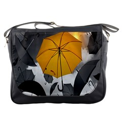 Umbrella Yellow Black White Messenger Bags