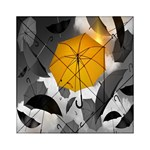 Umbrella Yellow Black White Acrylic Tangram Puzzle (6  x 6 ) Front