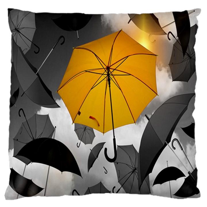 Umbrella Yellow Black White Large Cushion Case (One Side)