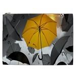 Umbrella Yellow Black White Cosmetic Bag (XXL)  Front