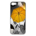 Umbrella Yellow Black White Apple iPhone 5 Case (Silver) Front
