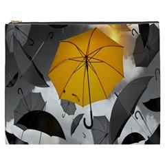 Umbrella Yellow Black White Cosmetic Bag (XXXL)