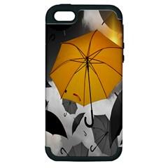 Umbrella Yellow Black White Apple iPhone 5 Hardshell Case (PC+Silicone)
