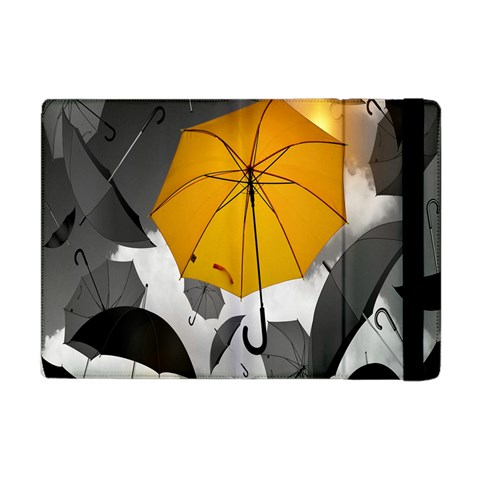 Umbrella Yellow Black White Apple iPad Mini Flip Case