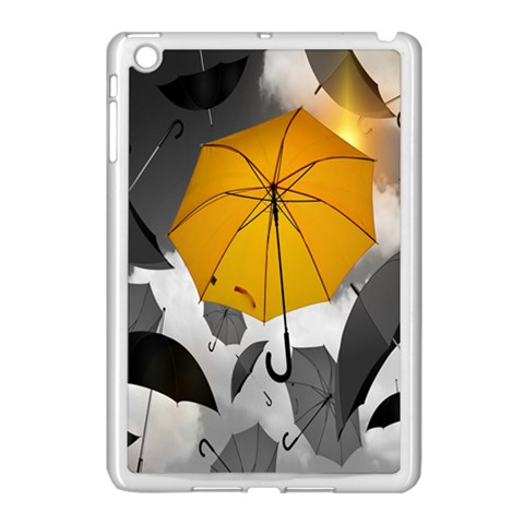 Umbrella Yellow Black White Apple iPad Mini Case (White)
