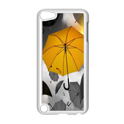 Umbrella Yellow Black White Apple iPod Touch 5 Case (White)