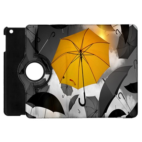 Umbrella Yellow Black White Apple iPad Mini Flip 360 Case