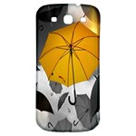 Umbrella Yellow Black White Samsung Galaxy S3 S III Classic Hardshell Back Case Front