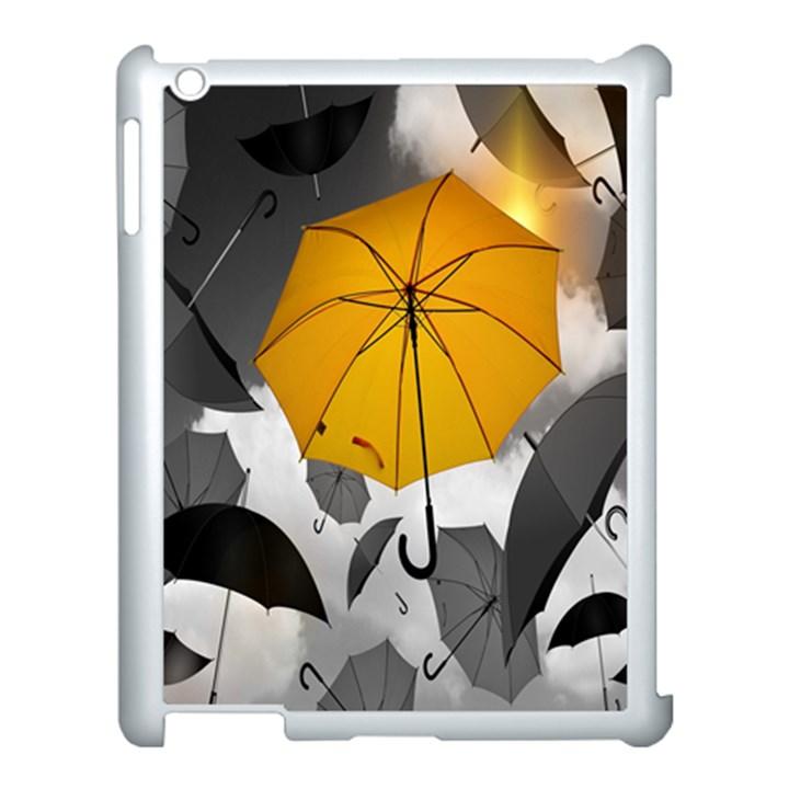 Umbrella Yellow Black White Apple iPad 3/4 Case (White)
