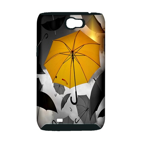 Umbrella Yellow Black White Samsung Galaxy Note 2 Hardshell Case (PC+Silicone)