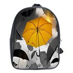 Umbrella Yellow Black White School Bags (XL)  Front