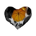 Umbrella Yellow Black White Standard 16  Premium Heart Shape Cushions Back