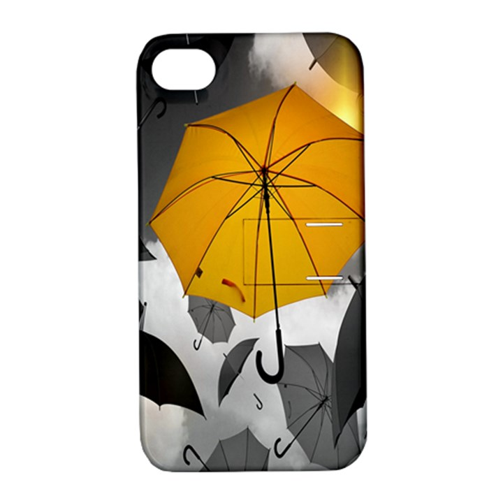 Umbrella Yellow Black White Apple iPhone 4/4S Hardshell Case with Stand