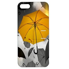 Umbrella Yellow Black White Apple iPhone 5 Hardshell Case with Stand