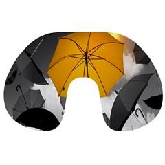 Umbrella Yellow Black White Travel Neck Pillows