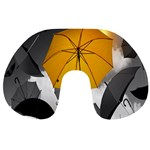 Umbrella Yellow Black White Travel Neck Pillows Front