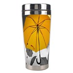 Umbrella Yellow Black White Stainless Steel Travel Tumblers Center