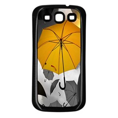 Umbrella Yellow Black White Samsung Galaxy S3 Back Case (Black)