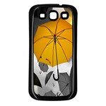 Umbrella Yellow Black White Samsung Galaxy S3 Back Case (Black) Front