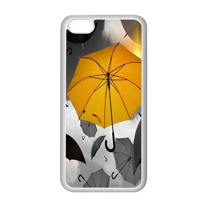 Umbrella Yellow Black White Apple iPhone 5C Seamless Case (White)