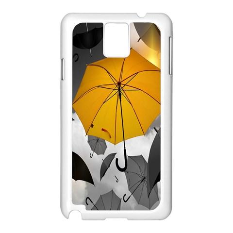 Umbrella Yellow Black White Samsung Galaxy Note 3 N9005 Case (White)