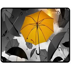 Umbrella Yellow Black White Double Sided Fleece Blanket (Medium)