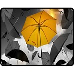 Umbrella Yellow Black White Double Sided Fleece Blanket (Medium)  60 x50 Blanket Front
