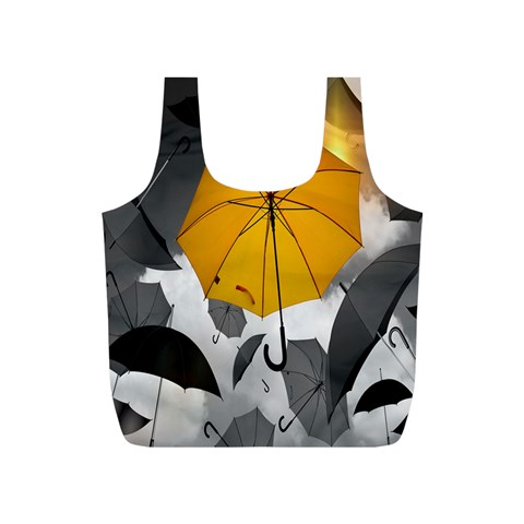 Umbrella Yellow Black White Full Print Recycle Bags (S)