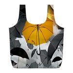 Umbrella Yellow Black White Full Print Recycle Bags (L)  Front