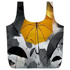 Umbrella Yellow Black White Full Print Recycle Bags (L)
