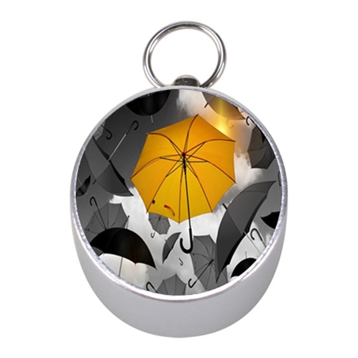 Umbrella Yellow Black White Mini Silver Compasses