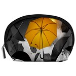 Umbrella Yellow Black White Accessory Pouches (Large)  Front