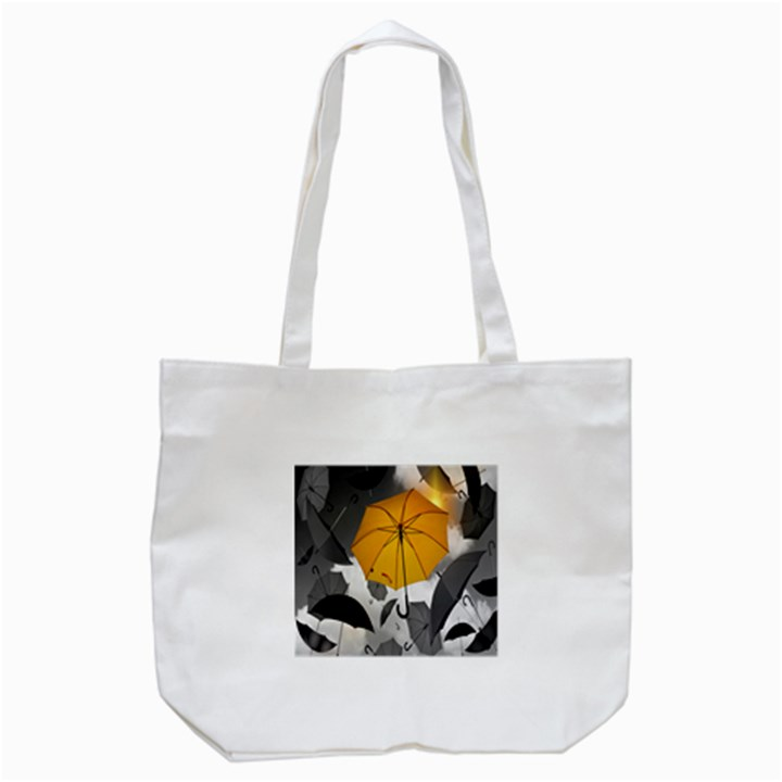 Umbrella Yellow Black White Tote Bag (White)