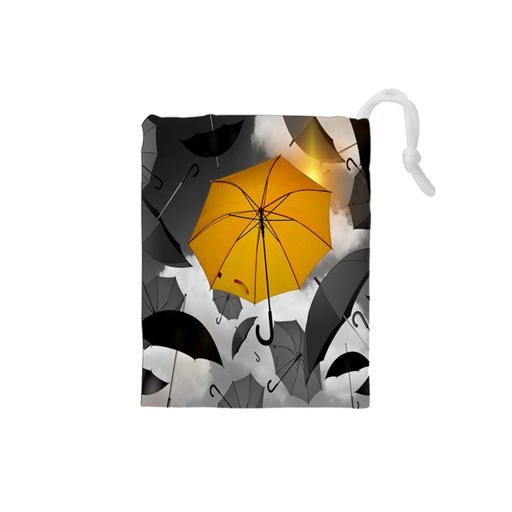 Umbrella Yellow Black White Drawstring Pouches (Small)
