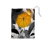 Umbrella Yellow Black White Drawstring Pouches (Medium)  Front