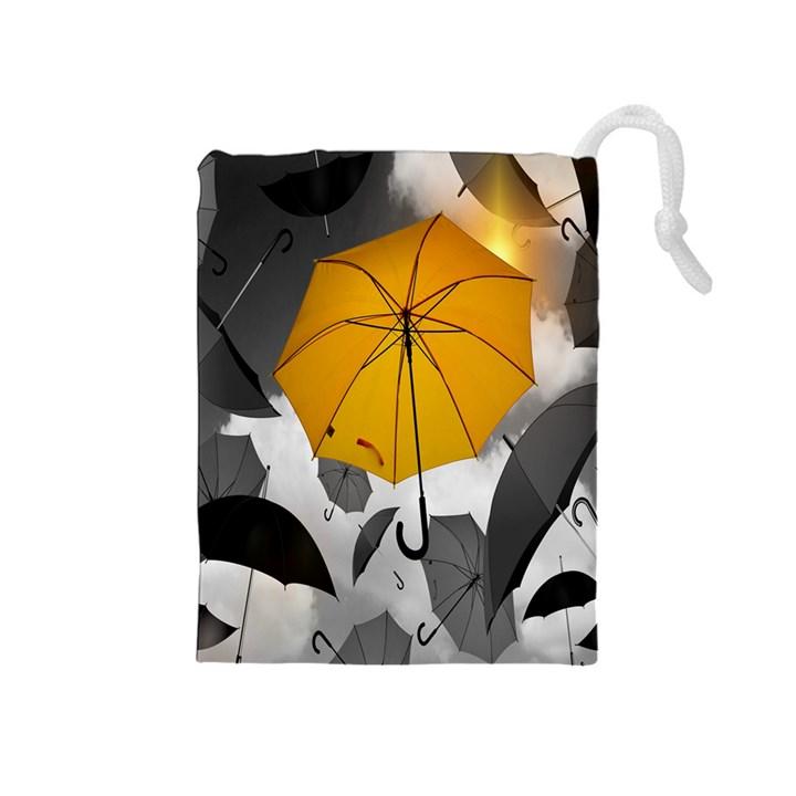 Umbrella Yellow Black White Drawstring Pouches (Medium)