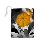 Umbrella Yellow Black White Drawstring Pouches (Medium)  Back