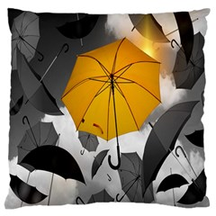 Umbrella Yellow Black White Standard Flano Cushion Case (One Side)