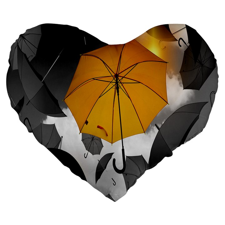 Umbrella Yellow Black White Large 19  Premium Flano Heart Shape Cushions