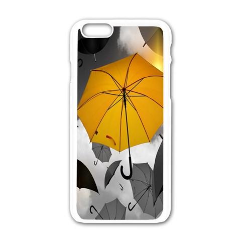 Umbrella Yellow Black White Apple iPhone 6/6S White Enamel Case