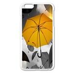 Umbrella Yellow Black White Apple iPhone 6 Plus/6S Plus Enamel White Case Front
