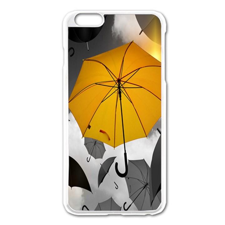 Umbrella Yellow Black White Apple iPhone 6 Plus/6S Plus Enamel White Case