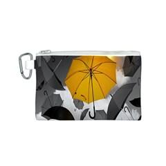 Umbrella Yellow Black White Canvas Cosmetic Bag (S)