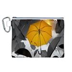 Umbrella Yellow Black White Canvas Cosmetic Bag (L) Front
