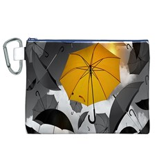 Umbrella Yellow Black White Canvas Cosmetic Bag (XL)