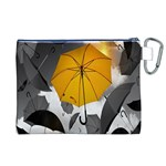Umbrella Yellow Black White Canvas Cosmetic Bag (XL) Back