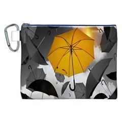 Umbrella Yellow Black White Canvas Cosmetic Bag (XXL)
