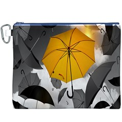 Umbrella Yellow Black White Canvas Cosmetic Bag (XXXL)