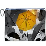 Umbrella Yellow Black White Canvas Cosmetic Bag (XXXL) Front