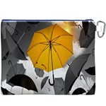 Umbrella Yellow Black White Canvas Cosmetic Bag (XXXL) Back